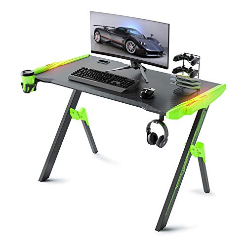 """GALAXHERO Gaming Desk, 46.8"""" Computer Gaming Desk with Audio Sensor RGB LED Lights, R Formed Gamer Table with Cup Holder, Twisted Entrance, Headphone Hook and Mouse pad,"""