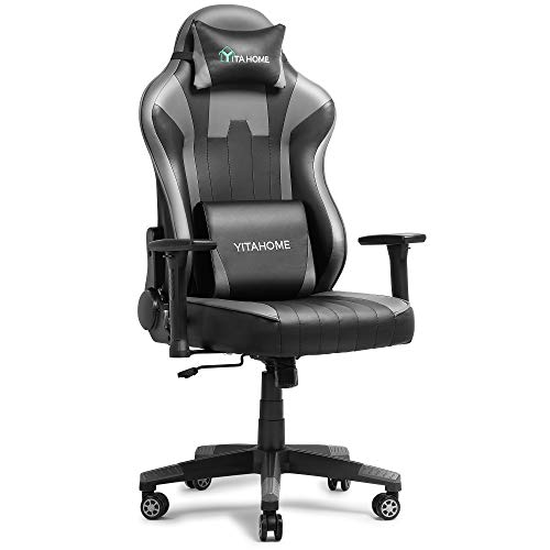 YITAHOME Rubdown Gaming Chair Enormous and Colossal 350lbs Heavy Duty Ergonomic Video Game Chair High Relief Office Computer Chair Racing Type with Headrest and Lumbar Increase,Grey