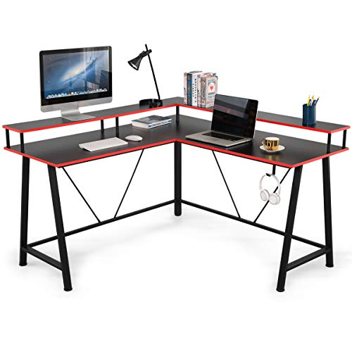 EROMMY L Fashioned Computer Desk, 57 dash Gaming Desk with Headset Storage Hook,Gigantic Video display Stand for House Administrative heart,Computer Nook Desk,Location Saver, Straightforward to Assemble