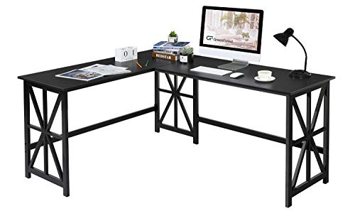 """GreenForest L Formed Nook Desk, 63.8"""" x 50"""" Industrial Heavy Accountability Computer Gaming Desk Workstation for Dwelling Place of job, Murky"""