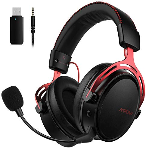 Mpow Air 2.4G Wireless Gaming Headset for PS5/PS4/PC Computer Headset with Twin Chamber Driver,Upto 17 hours of Utilize, Noise Cancelling Mic, 3D Bass, Ultra Gentle Over-Ear Gaming Headphones for Change