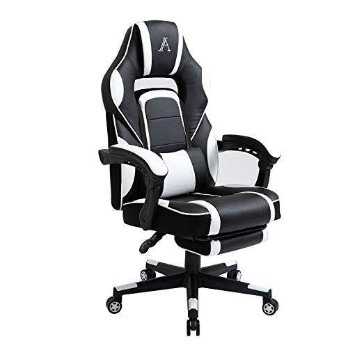 AJS PC Gaming Chair Computer Ergonomic Video Game Chair Adjustable Swivel Recliner Excessive Reduction PU Leather Desk Chair Lumbar Crimson meat up with Footrest for Adults and Teenagers (White)