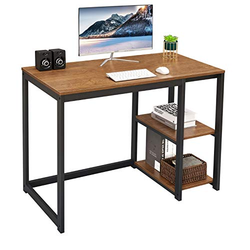 SINPAID Laptop Desk 40inch with 2-Tier Shelves Sturdy Residence Office Desk with Dapper Storage Condominium Morden Gaming Desk Search for Writing Laptop Desk, Brown