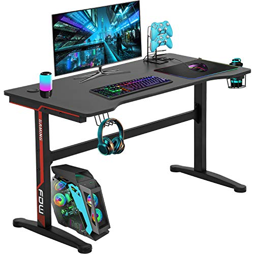 Pc Desk,Gaming Desk 45.2″/47.2'' Pupil PC Desk Office Desk Writing Desk Extra Natty Contemporary Ergonomic Racing Vogue Table Workstation Carbon Fiber Cup Holder Headphone Hook (45.2 inches)