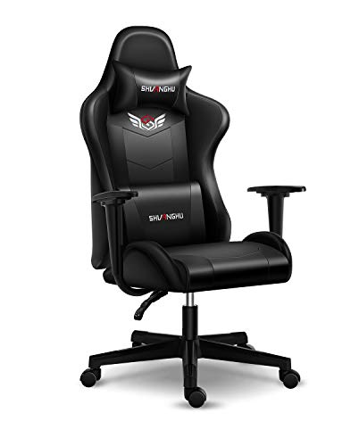 Shuanghu Gaming Chair Office Chair Ergonomic PC Computer Chair with Reclining Racing Chair with Headrest and Lumbar Toughen Gaming Chair for Adults Younger people Desk Chair (Dusky+Definite)