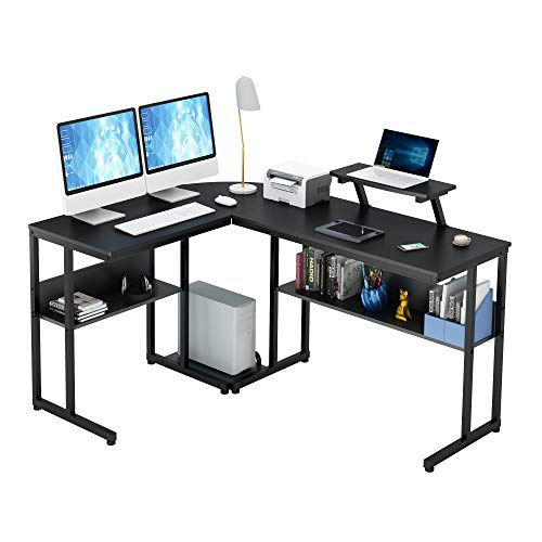 Ruitta Computer Nook Desk 58″ L-Formed Desk, Nook Gaming Desk, L Formed Gaming Computer Desk with Two Massive Shelves, Display screen Stand, CPU Stand, Space-Saving, Easy to Assemble (Shaded)