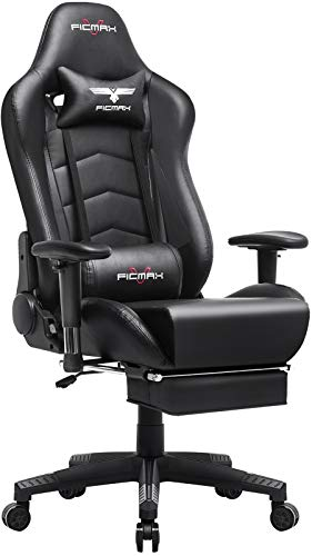 Ficmax Gaming Chair with Footrest Ergonomic PU Leather Pc Chair for Gaming, Reclining High Assist Administrative middle Chair with Rub down Lumbar Make stronger, Racing Vogue Gamer Chair Gargantuan Size E-Sport Chair(Black)