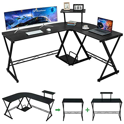 GreenForest L Fashioned Desk 58″ Reversible Nook Computer Desk with Movable Shelf and CPU Stand, Gaming Desk with Sturdy X Leg Space Saving Dwelling Feature of job Workstation Desk,