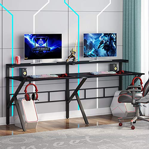 Tribesigns Two Person Gaming Desk with Hutch Be aware Shelf, 78 inches Double Computer Desk with Headphone Hooks, Extra Long Good ample -Formed Dwelling Divulge of business PC Desk Gamer Workstation,Textured Carbon Fiber,