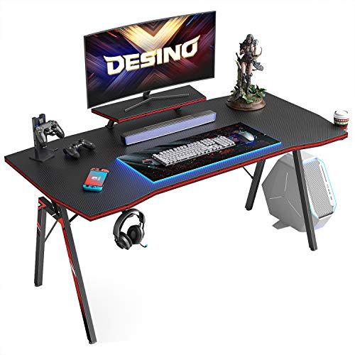 DESINO Gaming Desk 47 drag PC Computer Desk, House Arrangement of industrial Desk Table Gamer Workstation with Cup Holder and Headphone Hook, Dusky