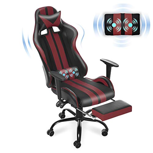 Rubdown Gaming Chair, Tall Dimension Ergonomic Racing Model PC Laptop Chair with Headrest Lumbar Toughen Footrest Adjustable Recliner PU Leather-basically basically based Video Laptop Chair(Tango Crimson)