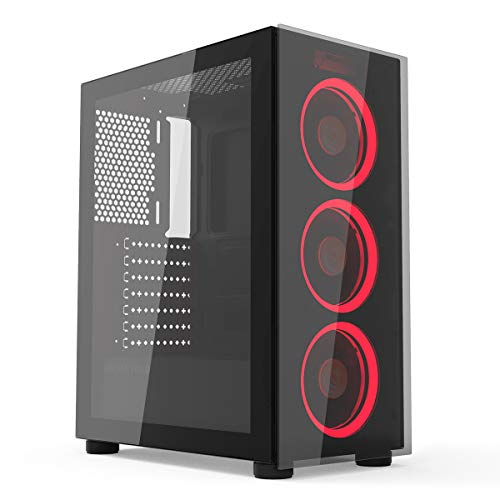 GOLDEN FIELD N18 Computer PC Gaming Case, Mid Tower ATX Case, 3 Red Followers Pre-Put in, Double Tempered Glass Panel, Make stronger ATX/MATX/ITX Motherboard