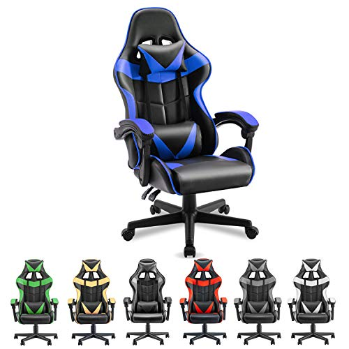Soontrans PC Gaming Chair Ergonomic Office Chair Racing Chair for Gaming Pc Chair,E-Sports activities Chair with High-Advantage,Adjustable Headrest and Lumbar Give a rob to (Storm…