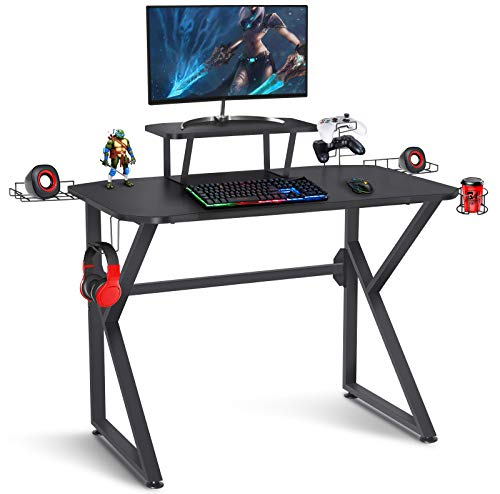 Gaming Desk 39 Jog Laptop Desk Gaming Table K Shaped Notebook pc Gaming Workstation Dwelling Place of job Desk with Headphone/CD Holder, Gaming Controller Rrack,Shaded