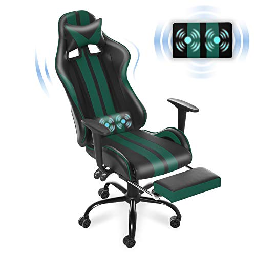 Gaming Chair with Footrest, Therapeutic massage Gaming Chair, Say of enterprise Chair,Computer Gaming Chair,Racing Type with Adjustable Recliner and Retractable Footrest and Headrest/Lumbar Pillow(Gaming Inexperienced)