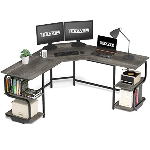Teraves L Shaped Desk with Shelves Computer Desk with Sizable Desktop Gaming Desk Workstation for Dwelling Office (Sizable+4-Tier Shelves, Gloomy Oak)