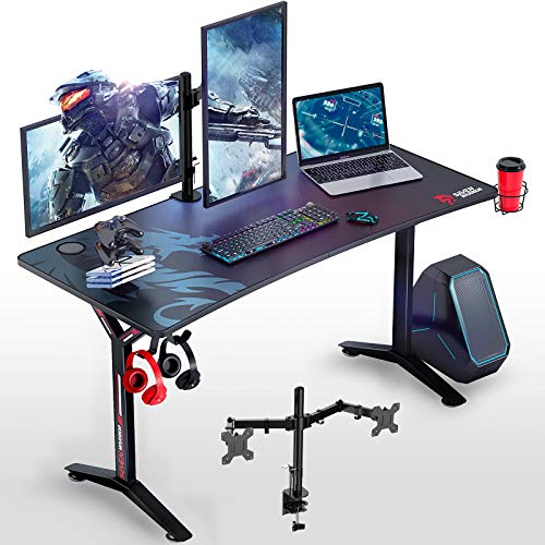 Seven Warrior Gaming Desk 55INCH with Twin Video show Mount, Carbon Fiber Surface Computer Gamer Desk with Full Desk Mouse Pad, Ergonomic Y Formed Gamer…