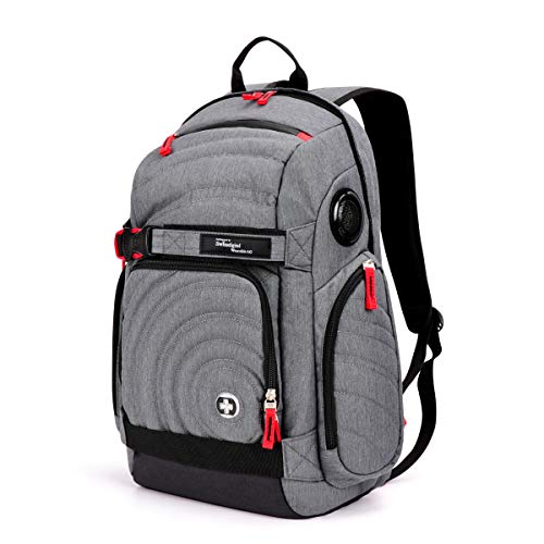 Swiss Digital Xavie Heather Grey Men's Urban Commuter Bluetooth Speaker Gaming Backpack, RFID Safety, Matches Laptops as a lot as 15.6″, TSG4H152