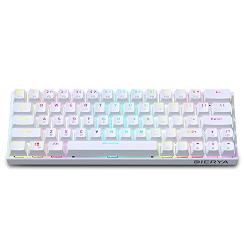 60% Keyboard with Dedicated Arrow Keys, White DIERYA DK63W Wi-fi Wired Mechanical Gaming Computer Keyboard Factual RGB Backlit Bluetooth 4.0 Programmable, N-Key Rollover for Windows…