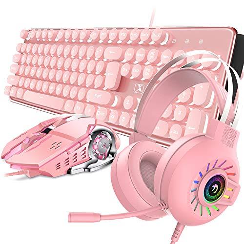 4-in-1 Gaming Keyboard Mouse Combo Wired White Led Backlit 104 Keys Ergonomic Gamer Crimson Keyboard + 2400DPI Adjust 6 Buttons USB Optical Sport Mouse 3.5mm…