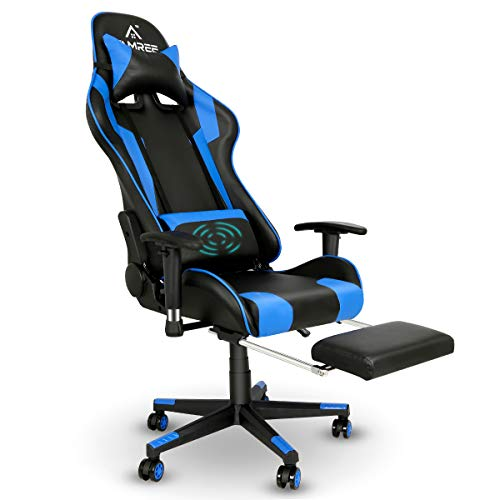 Gaming Chair Racing Vogue Set of living of business Computer Chair Rub down Ergonomic PU Leather-basically based PC Chair with Lumbar Pillow Headrest Armrest Footrest…