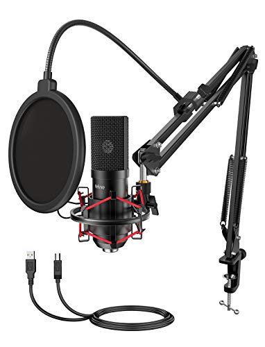 FIFINE USB Gaming Microphone Build with Flexible Arm Stand Pop Filter, Dart and Play with PC Desktop Laptop laptop Laptop, Streaming Podcast Mic Kit for…