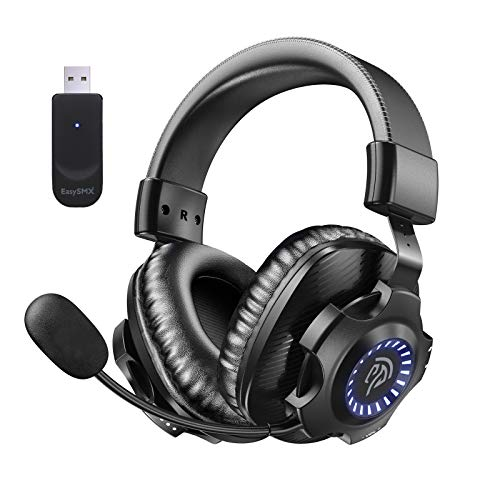 EasySMX 2.4G Wi-fi Gaming Headset PS5/PS4/PC V07W Gaming Headphones with Detachable Noise Cancellation Microphone, RGB Lights, Over-Ear Memory Foam Computer Headset with 7.1 Surround Deep…