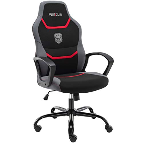 Mad Computer Game Chair,House Situation of labor Desk Chair with Lumbar Enhance,Excessive Again Fabric Swivel Situation of labor Chair,Video Gamer Chair for Teen and Youngsters,Purple