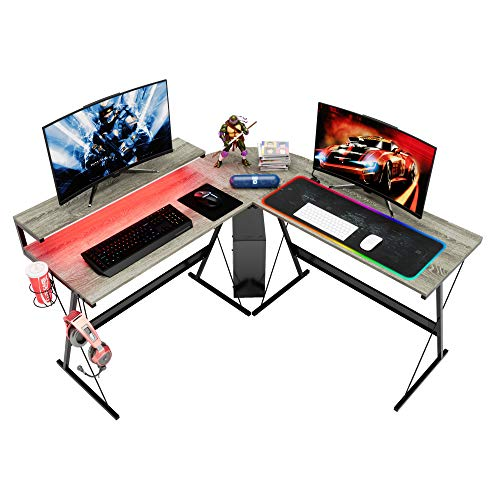 """Bestier L-Fashioned RGB Gaming Desk,55.2"""" LED Lights Computer Storage with Cup Holder and Headphone Hook Trendy Nook Desk Peer Table Workstation Home Office Gaming Desk…"""