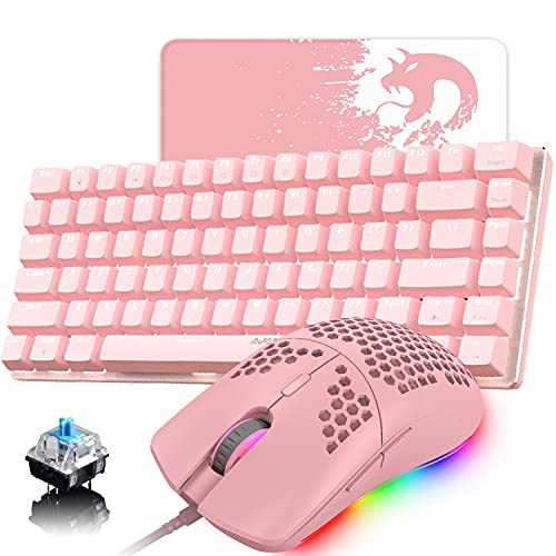 Pink Gaming Keyboard and Mouse,3 in 1 Gaming Role,White LED Backlit Wired Gaming Keyboard,RGB Backlit 6400 DPI Lightweight Gaming Mouse with Honeycomb Shell,Huge Mouse Pad…