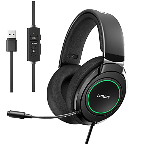 Philips USB Laptop Gaming Headset with Microphone, 7.1 Encompass Sound, Comfort Fit Wired Headphones with RGB LED Lighting fixtures