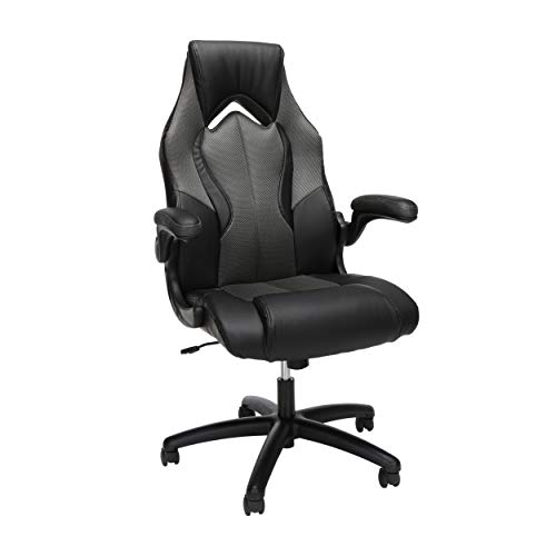 OFM ESS Assortment Excessive-Assist Racing Style Bonded Leather Gaming Chair, in Grey (ESS-3086-GRY)