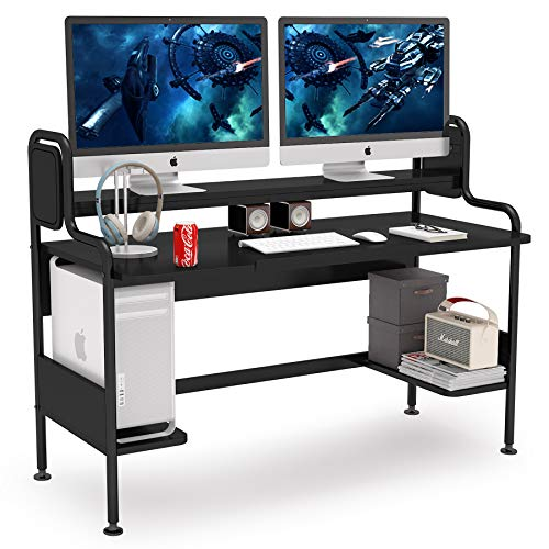 Tribesigns Computer Desk with Hutch, 55-Tear Dapper Gaming Desk with Storage Cabinets, Studio Workstation Desk Finding out Writing Table for Home Space of job