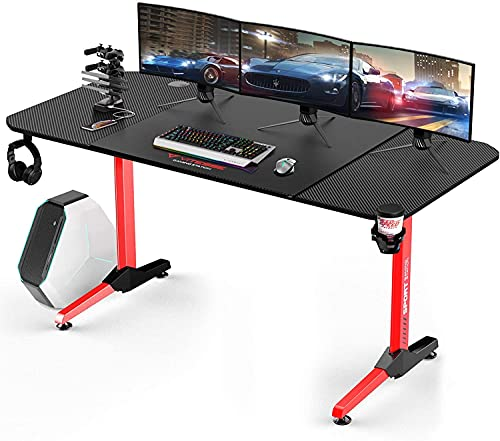 Vitesse 63 creep Gaming Desk, Gaming Laptop Desk, PC Gaming Table, T Shaped Racing Vogue Legit Gamer Game Region with Free Mouse pad, USB Gaming…