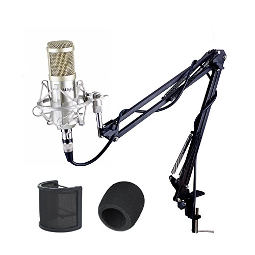 Mugig Condenser Microphone, Real Studio Condenser Mic with Microphone Stand/3.5mm XLR Cable/Shock Mount/Pop Filter for Real Studio Recording, Broadcasting, Recording, Singing, Video games