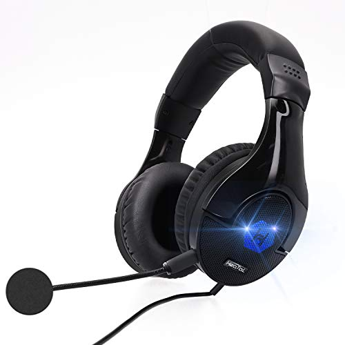 Gaming Headset Headphones with Mic, 7.1 Encompass Sound, Memory Foam Ear Pads, Noise Canceling Microphone, Over Ear with LED Gentle On-Line Quantity for PC Game…